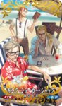 1girl 4boys beach beard berserker_of_black blue_eyes blurry card caster_of_red charles_babbage_(fate/grand_order) chin_rest craft_essence depth_of_field facial_hair fate/apocrypha fate/grand_order fate_(series) glasses hawaiian_shirt james_moriarty_(fate/grand_order) lancer_of_black long_hair male_focus multiple_boys official_art red_shirt shirt sitting sunglasses suspenders table yuu_kikuchi