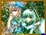 2girls cherry_blossoms ghost green_eyes hat hitodama konpaku_youmu konpaku_youmu_(ghost) multiple_girls oekaki petals pink_eyes pink_hair saigyouji_yuyuko sword touhou weapon white_hair