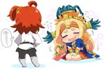 2girls ahoge aztec beads black_legwear black_skirt blonde_hair blue_cape blush bracer cape chaldea_uniform chibi chin_piercing closed_eyes commentary_request eyebrows fate/grand_order fate_(series) feathers flower flying_sweatdrops fujimaru_ritsuka_(female) hair_beads hair_ornament hands_on_hips headband headdress legs_apart long_hair long_sleeves low-tied_long_hair miniskirt motion_lines multiple_girls one_side_up open_mouth orange_hair orange_scrunchie pantyhose piercing pleated_skirt quetzalcoatl_(fate/grand_order) short_hair sitting skirt standing translation_request tsukko_(3ki2ne10) twitter_username v_arms wariza wavy_mouth