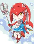 1girl belly_chain blush bracelet breasts chibi closed_mouth crescent diamond_(shape) eyelashes fins fish_girl full_body gem gills headpiece highres holding holding_weapon jewelry mipha multicolored multicolored_skin nazonazo_(nazonazot) necklace no_eyebrows no_nipples no_pussy polearm red_skin silver_trim single_bare_shoulder small_breasts smile solo the_legend_of_zelda the_legend_of_zelda:_breath_of_the_wild trident two-tone_skin weapon white_skin yellow_eyes zora