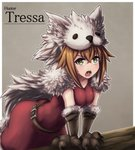 1girl animal_hood belt breasts brown_hair cape character_name covered_navel dress fur_cape gloves green_eyes grey_background hair_between_eyes highres hood leaning_forward medium_breasts octopath_traveler open_mouth paw_gloves paws red_dress shiranaihito short_hair solo sweat tressa_(octopath_traveler) wolf_hood