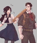 1boy 1girl ascot baguette bioshock bioshock_infinite booker_dewitt bread brown_eyes brown_hair bubux elizabeth_(bioshock_infinite) food long_hair ponytail smile vest