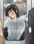 1girl against_glass black_hair breast_press breasts breasts_on_glass city closed_eyes collared_shirt contemporary crowd faceless facial_scar genderswap genderswap_(mtf) glass golden_kamuy hand_on_glass kimidake large_breasts people scar shirt short_hair subway sugimoto_saichi train_interior white_shirt window