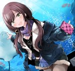 1girl :d air_bubble animal aquarium black_shirt blue_jacket blue_scarf blue_shorts blush breasts brown_eyes brown_hair bubble cellphone cleavage fingernails fish fringe_trim fur-trimmed_shorts grey_legwear heart holding holding_cellphone holding_phone idolmaster idolmaster_shiny_colors jacket jewelry long_hair long_sleeves looking_at_viewer morina_nao nail_polish oosaki_amana open_clothes open_jacket open_mouth pantyhose pendant phone pointing puffy_long_sleeves puffy_sleeves red_nails scarf shirt short_shorts shorts sleeves_past_wrists small_breasts smile solo very_long_hair water white_jacket