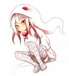 1girl absurdres bandaged_leg bandages blush closed_mouth commentary_request dutch_angle full_body gradient_hair highres hood hood_up hoodie idaten93 knees_up long_sleeves looking_at_viewer multicolored_hair no_shoes original personification red_eyes red_hair scales sidelocks sitting slit_pupils snake snake_hood solo v-shaped_eyebrows white_background white_hair white_hoodie white_snake