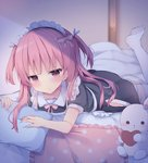 1girl :t apron bed_sheet black_dress blurry blurry_background blush bow closed_mouth collared_dress commentary_request depth_of_field dress fingernails frilled_apron frilled_pillow frills hair_bow heart highres indoors leg_up long_hair lying maid maid_headdress no_shoes on_stomach original pillow pink_bow pout puffy_short_sleeves puffy_sleeves red_eyes red_hair short_sleeves soles solo stuffed_animal stuffed_bunny stuffed_toy thighhighs tsuruse two_side_up white_apron white_legwear