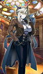 1girl alternate_costume artoria_pendragon_(all) artoria_pendragon_(lancer_alter) bangs blonde_hair breasts closed_mouth coat_removed eyebrows_visible_through_hair fate/grand_order fate_(series) gloves hair_between_eyes hand_in_pocket holding horns indoors ishida_akira jacket large_breasts long_sleeves looking_at_viewer official_art pants pinstripe_pattern serious shirt solo stained_glass standing striped tied_hair yellow_eyes