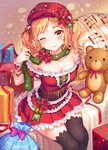 1girl arm_support armpit_peek bang_dream! bangs bare_shoulders bell black_legwear blonde_hair blurry blush breasts cleavage cleavage_cutout closed_mouth depth_of_field frilled_shirt frills from_above gift green_scarf hair_ornament hair_ribbon hand_up hat head_tilt highres ichigaya_arisa long_hair looking_at_viewer medium_breasts miniskirt musical_note off_shoulder one_eye_closed parted_bangs pleated_skirt pom_pom_(clothes) r_o_ha red_hat red_ribbon red_shirt red_skirt ribbon sack santa_costume scarf shirt short_sleeves sidelocks sitting skirt smile solo stuffed_animal stuffed_toy teddy_bear thighhighs twintails underbust wristband yellow_eyes zettai_ryouiki