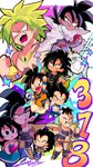 1girl 6+boys :d :o armor bad_id bad_twitter_id bardock black_eyes black_hair broly broly_(dragon_ball_super) brothers chibi commentary_request couple dark_skin dragon_ball dragon_ball_super dragon_ball_super_broly dragon_ball_z dual_persona father_and_son flying_nimbus full_body gine green_hair grin hetero highres legendary_super_saiyan mother_and_son motunabe707070 multiple_boys nappa no_pupils number open_mouth raditz scar short_hair siblings smile son_gokuu star tail teeth time_paradox tullece twitter_username vegeta