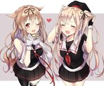 2girls :d ;d alternate_hairstyle asymmetrical_clothes black_ribbon black_serafuku black_skirt blonde_hair blush closed_eyes commentary cosplay costume_switch fingerless_gloves gloves hair_flaps hair_ribbon hairstyle_switch hat heart heart_print highres kantai_collection kona_(mmmkona) light_brown_hair long_hair looking_at_viewer multiple_girls murasame_(kantai_collection) murasame_(kantai_collection)_(cosplay) neckerchief one_eye_closed open_mouth pleated_skirt red_eyes remodel_(kantai_collection) ribbon scarf school_uniform serafuku skirt smile two-tone_background two_side_up white_gloves white_scarf yuudachi_(kantai_collection) yuudachi_(kantai_collection)_(cosplay)