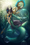 1girl air_bubble blonde_hair center_opening fins floating_hair frills full_body gorget helmet highres holding holding_weapon jewelry league_of_legends long_hair mermaid monster_girl nami_(league_of_legends) outstretched_arm red_eyes revision scales seaweed signature solo staff swimming underwater weapon yume_ou