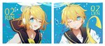 +_+ 1boy 1girl ;) ;d absurdres air_bubble bare_shoulders blonde_hair bubble character_name chi_ya chinese_commentary close-up commentary eyebrows_visible_through_hair face hair_ornament hair_ribbon hairclip headset highres kagamine_len kagamine_rin looking_at_viewer number one_eye_closed open_mouth ribbon sailor_collar short_hair smile submerged symbol_commentary underwater upper_body upper_teeth vocaloid water white_ribbon
