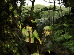 2girls bad_id bad_pixiv_id commentary forest holding_hands kyoto maribel_hearn multiple_girls nature shade tokoroten_(hmmuk) touhou usami_renko