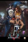 1girl 3boys arm_tattoo bird black_hair black_panther blue_eyes brown_hair capcom commentary crop_top cutoffs dante_(devil_may_cry) dark_skin denim denim_shorts devil_breaker devil_may_cry_5 facial_hair freckles glasses griffon_(devil_may_cry_5) hairband highres leg_tattoo letterboxed long_hair male_focus mechanical_arm midriff multiple_boys navel nero_(devil_may_cry) nico_(devil_may_cry) official_art panther prosthesis prosthetic_arm red-framed_eyewear red_hairband shadow_(devil_may_cry_5) short_hair shorts sitting sparda_(sword) stubble tattoo v_(devil_may_cry) vest white_hair yoshikawa_tatsuya