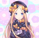 1girl abigail_williams_(fate/grand_order) bangs black_bow black_dress black_hat blonde_hair blue_eyes bow dress fate/grand_order fate_(series) forehead fuji_den_fujiko hair_bow hat long_hair looking_at_viewer open_mouth orange_bow parted_bangs polka_dot polka_dot_bow ribbed_dress sleeves_past_fingers sleeves_past_wrists solo stuffed_animal stuffed_toy teddy_bear