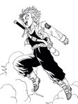 1boy :d boots capsule_corp cloud cloudy_sky commentary dragon_ball dragon_ball_z floating_hair full_body happy highres jacket jumping lee_(dragon_garou) looking_away male_focus monochrome open_mouth pants parody short_hair simple_background sky smile sword toki_wo_kakeru_shoujo trunks_(dragon_ball) weapon white_background