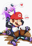 1boy 1girl >_< absurdres blue_eyes blush braid breasts brown_footwear brown_hair choujigen_game_neptune commentary crossover cundodeviant ear_blush facial_hair gloves hair_between_eyes hair_flaps hair_ornament hat heart hetero highres hug hug_from_behind indian_style leotard long_hair mario mario_(series) mustache neptune_(choujigen_game_neptune) neptune_(series) o_o overalls purple_hair purple_heart red_hat red_shirt shirt signature simple_background sitting sitting_on_lap sitting_on_person smile spoken_heart super_mario_bros. symbol-shaped_pupils thighhighs tied_hair tsurime twin_braids very_long_hair white_gloves