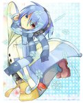1boy blue_background blue_eyes blue_hair blue_scarf commentary_request looking_at_viewer male_focus multicolored_coat polka_dot polka_dot_background puyopuyo red_eyes red_footwear rento_(rukeai) scarf shoes sig_(puyopuyo) snowflakes solo