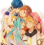 2boys 4girls 8'108 aqua_eyes aqua_hair blonde_hair blue_hair bow brown_eyes brown_hair crying detached_sleeves family group_hug hair_bow hair_ornament hairband hairclip happy happy_tears hatsune_miku hug kagamine_len kagamine_rin kaito long_hair looking_at_another megurine_luka meiko midriff multiple_boys multiple_girls necktie pink_hair scarf short_hair simple_background sketch smile tears twintails vocaloid white_background wiping_tears