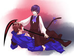 2boys armband bad_id bad_pixiv_id blood blue_hair boots bow brown_hair cat_tail coat frederica_bernkastel genderswap genderswap_(ftm) hair_pull holding holding_scythe injury looking_at_another lying multicolored_hair multiple_boys nobicco pants purple_eyes requiem_of_the_golden_witch scythe streaked_hair tail two-tone_hair umineko_no_naku_koro_ni vest willard_h_wright