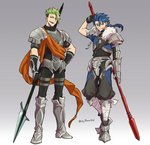 2boys achilles_(fate) arm_up armored_boots asaya_minoru bangs black_pants blue_hair boots cu_chulainn_(fate/prototype) eyebrows_visible_through_hair fate/apocrypha fate/prototype fate_(series) fur_trim gloves gradient gradient_background green_hair grey_background hair_between_eyes hand_on_hip holding holding_spear holding_weapon knee_boots long_hair low_ponytail male_focus multiple_boys open_mouth orange_eyes pants parted_lips pauldrons polearm ponytail puffy_pants spear standing twitter_username v-shaped_eyebrows vambraces weapon white_background