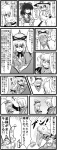 1boy 4girls anger_vein angry blush comic detached_sleeves enokuma_uuta gap greyscale hakurei_reimu hat hetero highres kirisame_marisa long_hair monochrome morichika_rinnosuke multiple_girls petting ragequit ribbon touhou translated yakumo_ran yakumo_yukari