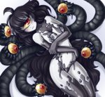 1girl :< ahoge arched_back black_hair black_nipples blush breasts cowboy_shot cyclops extra_eyes gazer_(monster_girl_encyclopedia) highres ittla long_hair looking_at_viewer medium_breasts monster_girl monster_girl_encyclopedia nipples one-eyed red_eyes solo tail tentacles wavy_hair white_skin yellow_sclera