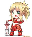 1girl :d armor bad_id bad_pixiv_id bangs bare_shoulders black_legwear blonde_hair blush boots braid breastplate chibi dated dreamusun eyebrows_visible_through_hair fang fate/apocrypha fate/grand_order fate_(series) green_eyes hand_on_hilt hand_on_hip long_hair mordred_(fate) mordred_(fate)_(all) navel open_mouth ponytail red_armor red_footwear sidelocks signature smile solo standing sword thighhighs weapon white_background