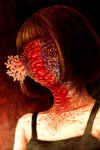 1girl blood bob_cut coral creepy guru highres monster original portrait short_hair solo traditional_media