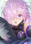 1girl armor bare_shoulders black_armor blush commentary_request eyebrows_visible_through_hair fate/grand_order fate_(series) hair_between_eyes highres holding holding_shield holding_weapon looking_at_viewer mash_kyrielight one_eye_covered open_mouth petals purple_eyes purple_hair shield short_hair solo tears weapon yuuki_yuchi