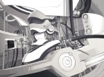 1girl cable greyscale head_mounted_display iwai_ryou machine monochrome original science_fiction solo