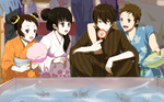 2boys 2girls alternate_hairstyle basin black_hair brown_eyes brown_hair chitanda_eru cotton_candy double_bun fish fukube_satoshi goldfish goldfish_scooping green_eyes hair_bun hyouka ibara_mayaka japanese_clothes kimono long_hair minalos multiple_boys multiple_girls oreki_houtarou purple_eyes red_eyes short_hair squatting yukata
