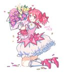 1girl 2015 blush bouquet choker dated eyebrows_visible_through_hair flower frilled_skirt frills full_body gloves hair_ribbon happy holding holding_bouquet holding_flower kaname_madoka kneeling leaf looking_back mahou_shoujo_madoka_magica petals pink_choker pink_eyes pink_flower pink_footwear pink_hair pink_neckwear pink_ribbon puffy_short_sleeves puffy_sleeves ribbon saji_(mei-low) short_sleeves short_twintails simple_background skirt smile socks solo thighhighs twintails white_background white_flower white_gloves white_legwear white_skirt yellow_flower zettai_ryouiki