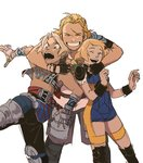 1girl 2boys ^_^ armor arms_around_neck basch_fon_ronsenburg blonde_hair blue_eyes closed_eyes facial_hair final_fantasy final_fantasy_xii grin hjay hug hug_from_behind low_twintails multiple_boys penelo scar scar_across_eye smile stubble twintails unitard vaan