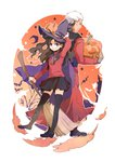 1boy 1girl archer broom brown_hair cape dark_skin fate/stay_night fate_(series) halloween hat itumu pumpkin thighhighs toosaka_rin two_side_up white_hair witch_hat