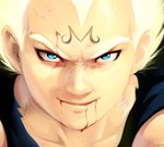 blonde_hair blood dragon_ball dragon_ball_z duvete face lowres majin_vegeta smile super_saiyan vegeta
