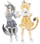 2girls animal_ears belt blonde_hair blue_eyes bow bowtie calligraphy_brush center_frills coat commentary_request elbow_gloves fur_collar fur_trim gloves grey_hair grey_wolf_(kemono_friends) heterochromia holding_hands jaguar_(kemono_friends) jaguar_ears jaguar_print jaguar_tail kemono_friends konabetate long_hair long_sleeves multicolored_hair multiple_girls necktie paintbrush plaid plaid_skirt pleated_skirt puffy_short_sleeves puffy_sleeves short_hair short_sleeves skirt sleeve_cuffs sweatdrop tail thighhighs white_hair wolf_ears wolf_tail yellow_eyes