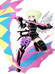 1boy black_gloves black_jacket blonde_hair c_kihara chest fire gloves green_hair half_gloves jacket kray_foresight lio_fotia looking_at_viewer mad_burnish male_focus promare purple_eyes shorts simple_background single_wing solo sword weapon white_background wings