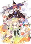 2girls atelier_(series) atelier_ayesha ayesha_altugle bell blonde_hair book bow brown_eyes creature dress flask flower food fruit hat highres jingle_bell long_hair multiple_girls ooba_kagerou payot red_hair ribbon short_hair smile staff wilbell_voll=erslied witch_hat