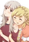2girls alternate_costume blonde_hair braid closed_eyes closed_mouth crown_braid fire_emblem fire_emblem_heroes grey_hair kuhuku006f86 long_hair multiple_girls open_mouth red_eyes sharena short_sleeves simple_background upper_body veronica_(fire_emblem) white_background