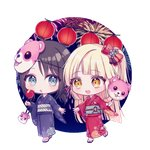 +_+ 2girls :3 :d :o alternate_hairstyle bang_dream! bangs black_hair black_kimono blonde_hair blue_eyes candy_apple character_mask chibi cotton_candy eyebrows_visible_through_hair festival fireworks food holding holding_food imminent_hand_holding japanese_clothes kimono lantern long_hair long_sleeves low_twintails mask mask_on_head michelle_(bang_dream!) multiple_girls no_socks obi okusawa_misaki one_side_up open_mouth paper_lantern pouch poyo_(shwjdddms249) red_kimono sandals sash smile tsurumaki_kokoro twintails walking wide_sleeves yellow_eyes