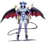 1girl astaroth_(shinrabanshou) bare_shoulders black_sclera blue_hair blue_skin breasts bridal_gauntlets demon_girl demon_tail demon_wings earrings hands_on_hips horns jewelry long_hair navel navel_cutout pointy_ears purple_gloves purple_legwear shino_(comic_penguin_club) shinrabanshou solo standing tail thighhighs white_background wings yellow_eyes