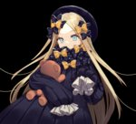 1girl abigail_williams_(fate/grand_order) bangs black_background black_bow black_dress black_hat blonde_hair blue_eyes bow commentary_request covered_mouth dress eyebrows_visible_through_hair fate/grand_order fate_(series) forehead hair_bow hat highres long_hair long_sleeves looking_at_viewer object_hug orange_bow parted_bangs polka_dot polka_dot_bow simple_background sleeves_past_wrists solo stuffed_animal stuffed_toy tadaomi_(amomom) teddy_bear very_long_hair
