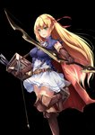1girl :d arisa_(shadowverse) arrow bangs belt black_background blonde_hair blue_shirt boots bow_(weapon) breasts brown_belt brown_footwear brown_gloves brown_legwear cape chahei commentary_request elbow_gloves elf eyebrows_visible_through_hair gloves green_eyes hair_between_eyes hair_ribbon hairband highres holding holding_arrow holding_bow_(weapon) holding_weapon long_hair medium_breasts open_mouth outstretched_arm pointy_ears quiver red_cape red_hairband red_ribbon ribbon round_teeth shadowverse shirt short_sleeves sidelocks simple_background skirt smile solo standing standing_on_one_leg teeth thigh_boots thighhighs upper_teeth very_long_hair weapon white_skirt