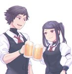 1boy 1girl :d alcohol beard beer beer_mug black_hair facial_hair gillian_(va-11_hall-a) jill_stingray open_mouth simple_background sleeves_rolled_up smile teeth turtleneck twintails uniform va-11_hall-a vest white_background y_(35504109)