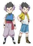 1boy :d alternate_costume arms_at_sides bidarian black_eyes black_hair boots chinese_clothes cosplay dragon_ball dragon_ball_super dragon_ball_z frown full_body gotenks hand_on_hip highres jacket male_focus multicolored_hair open_mouth purple_hair shirt short_hair shorts simple_background smile socks son_goten son_goten_(cosplay) spiked_hair teeth trunks_(dragon_ball) trunks_(dragon_ball)_(cosplay) two-tone_hair white_background white_legwear white_shirt wristband yellow_jacket
