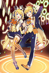 1boy 1girl alternate_costume aqua_eyes blonde_hair booota boots bow crown full_body headset highres kagamine_len kagamine_rin looking_at_viewer miniskirt pants short_hair skirt smile thighhighs vocaloid zettai_ryouiki