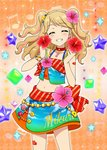 1girl aikatsu! aikatsu!_(series) aikatsu!_photo_on_stage!! beads beamed_eighth_notes beamed_sixteenth_notes blonde_hair blush bow bracelet character_name closed_eyes eighth_note flower gem hair_flower hair_ornament hibiscus highlights highres jewelry midriff multicolored_hair musical_note natsuki_mikuru quarter_note ribbon sleeveless smile staff_(music) tail two_side_up
