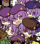 6+girls :d >:d beret blonde_hair card chibi cosplay dark_skin dust_of_osiris dust_of_osiris_revised eltnum hat long_hair melty_blood multiple_girls multiple_persona nekoarc nrvnqsr_chaos open_mouth purple_eyes purple_hair red_eyes sion_eltnam_atlasia sion_eltnam_atlasia_(cosplay) sion_tatari six_(fnrptal1010) smile tsukihime very_long_hair