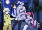 2boys 2girls artist_request cthugha_(nyaruko-san) haiyore!_nyaruko-san hastur_(nyaruko-san) highres moon multiple_boys multiple_girls night night_sky nyarlathotep_(nyaruko-san) official_art school_uniform sky tagme thighhighs yasaka_mahiro